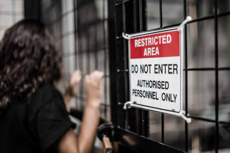 restricted area sign digital job applications