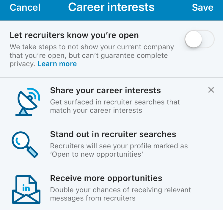 LinkedIn Setting - job seeking hack