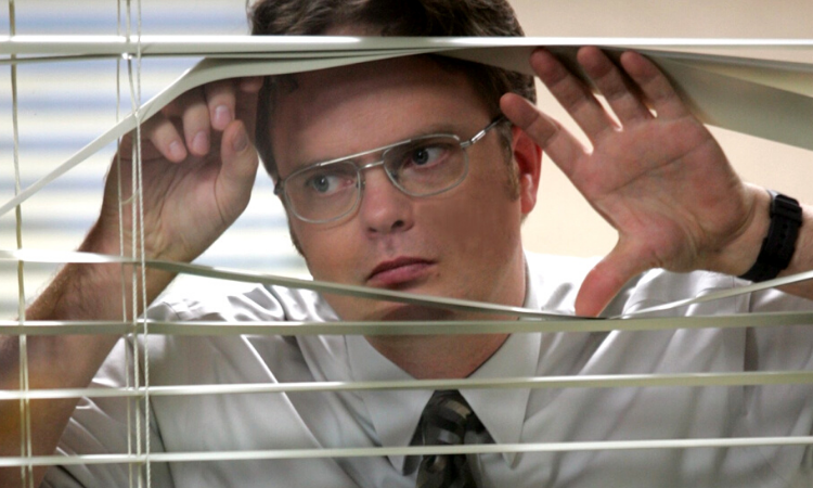 How to Find a New Job Without Your Boss Finding Out - The Office looking through blinds